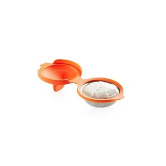 LEKUE - Pocheuse à œuf, inox et silicone orange-10cm