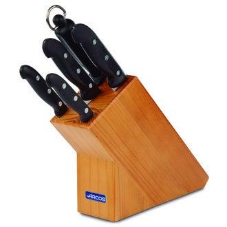 ARCOS - Bloc en pin 4 couteaux et un fusil Maître, pleine soie, 3 rivets inox, lame en acier Nitrum extra-dur 57 HRC et manche en PP noir