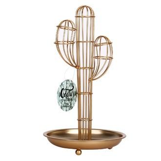 Arbre à bijoux en métal filaire cuivre Cactus 28cm