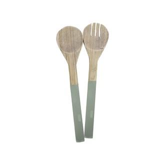 Couverts à salade en bambou vert 30cm
