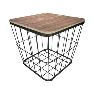Table coffre métal et bois 38,5x38,5xh37cm