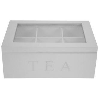 Boîte à thé en bois blanche avec 6 compartiments