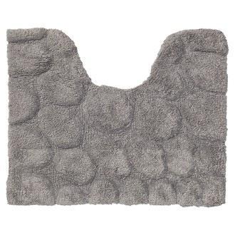 Tapis contour wc en coton Peeble gris 50x60cm