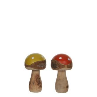 Champignon décoratif jaune et orange à pois en bois, 14,5cm
