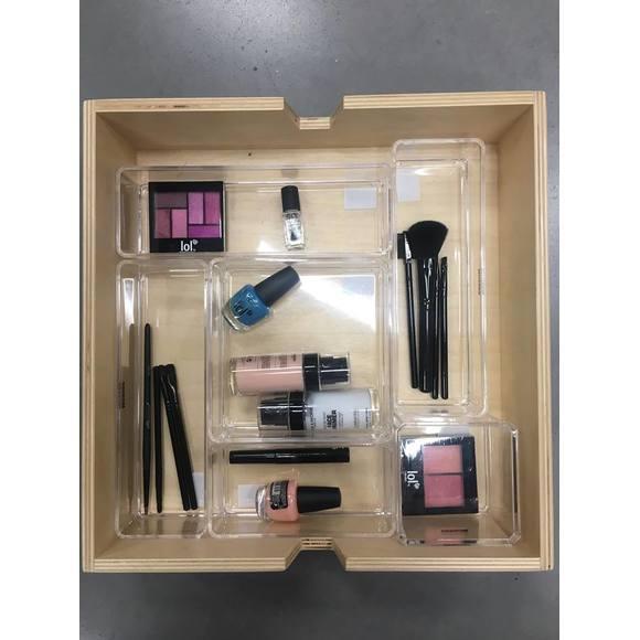 Rangement maquillage en acrylique superposable 15x15x5cm