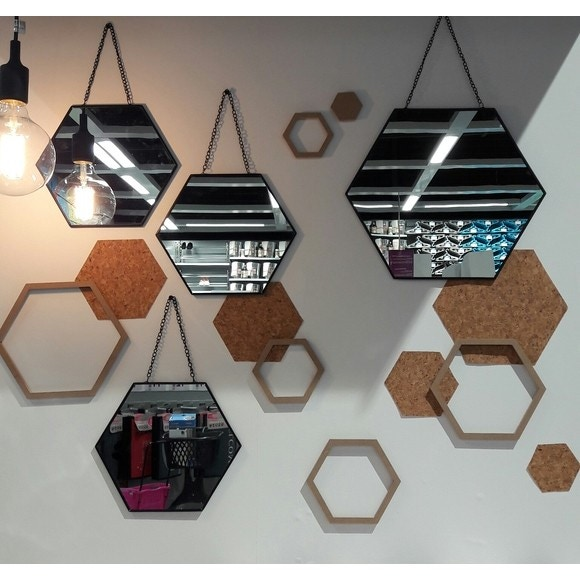 3 miroirs hexagone or