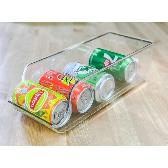 Bac rangement frigo canettes plastique blanc 14x35x10cm