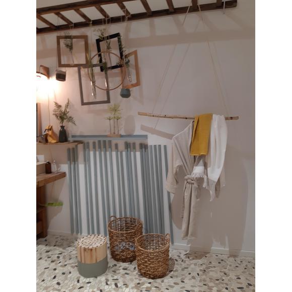 Asciugamano doccia a frange in cotone bianco beige 70x140cm