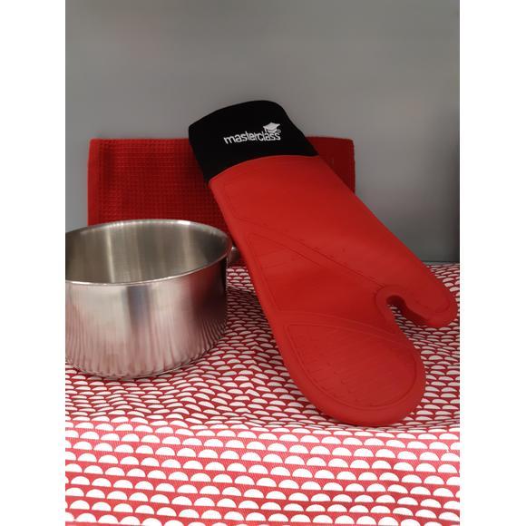 Guanto da forno in silicone e cotone arancione