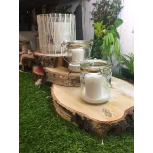 Plateau bougie rond en bois tronc d'arbre D22cm