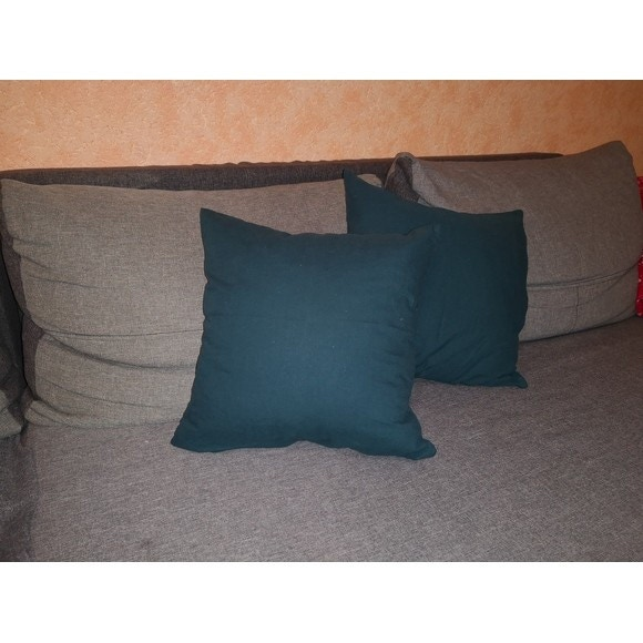 Fodera per cuscino quadrata in cotone delavé verde 40x40cm