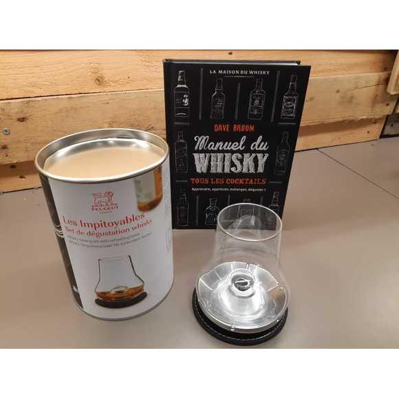 Verre dégustation whisky avec sous verre socle métal