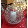 Photophore rond en verre craquelé transparent 10cm