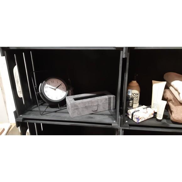 Boite de rangement 5 montres en suédine anthracite et noir