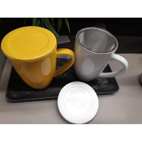 Tisanière céramique avec filtre inox et couvercle blanc 40cl