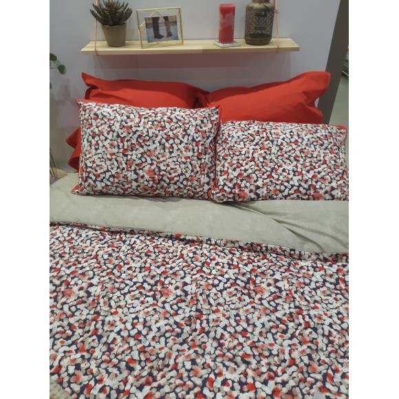 Federa quadrata in cotone percalle a pois rosso e blu 65x65