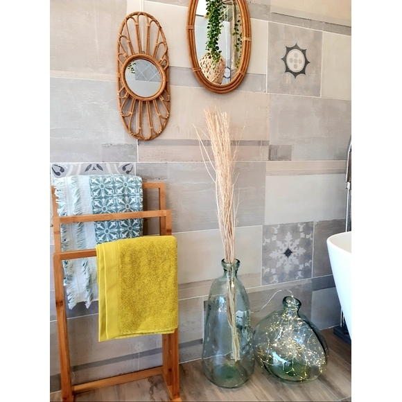 Asciugamano doccia cotone jacquard fantasia verde salvia 70x140
