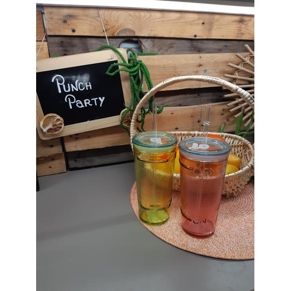 Bicchiere con cannuccia in vetro riciclato 50cl