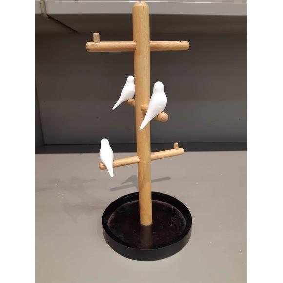 Arbre à bijoux avec petits oiseau en bois