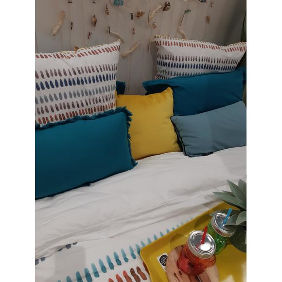 Cuscino rettangolare in cotone blu 30x50cm
