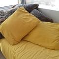 Federa quadrata in lino e cotone giallo curry 65x65cm