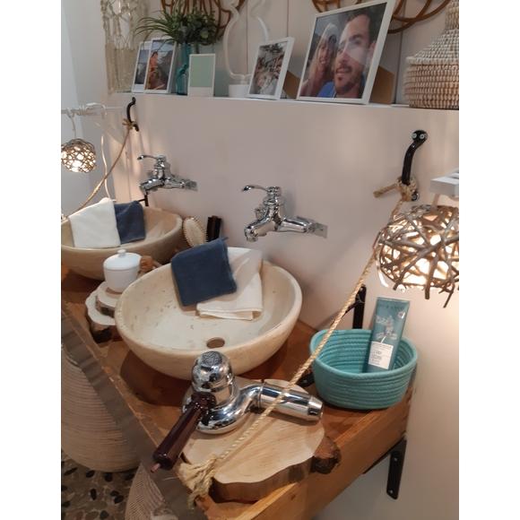 Guanto da bagno in cotone avorio
