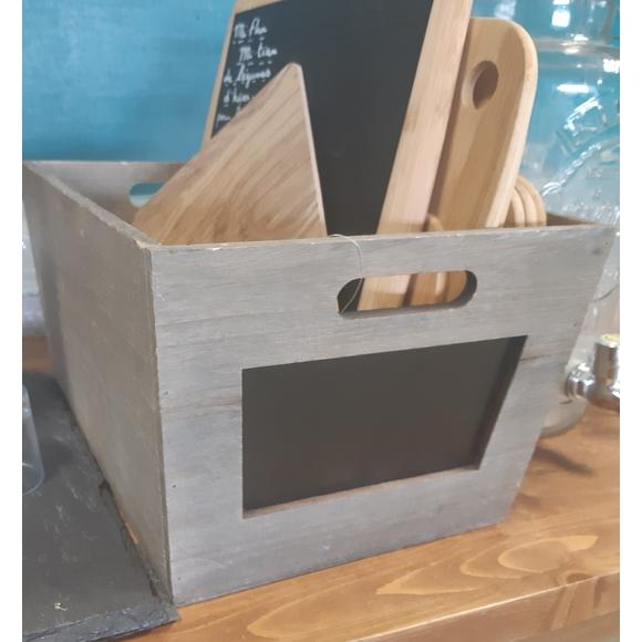 Caisse en bois avec ardoise 39x29x20cm