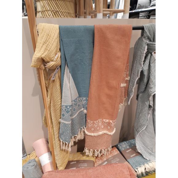 Plaid tissé coton gris souris Mila 130x150cm