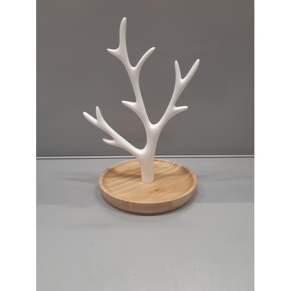 Arbre à bijoux en résine synthétique blanche et bois clair