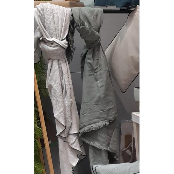 Plaid en coton Poete gris Vie 130x150cm