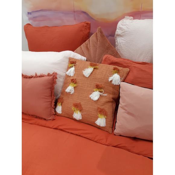 Cuscino quadrato in cotone pompons marrone 40x40cm