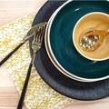 Tovagliolo in cotone con decori, giallo curry, 45x45 cm
