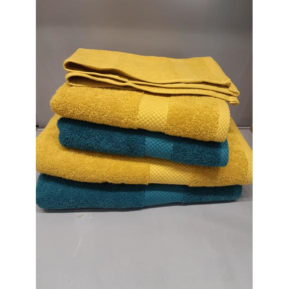 Asciugamano viso in spugna di cotone 500gr, curry 50x90cm