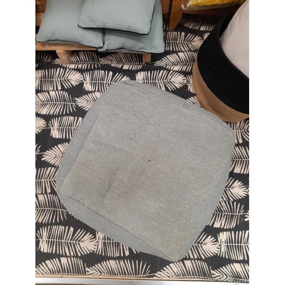 Pouf en canvas Côme gris souris 40x30x30cm