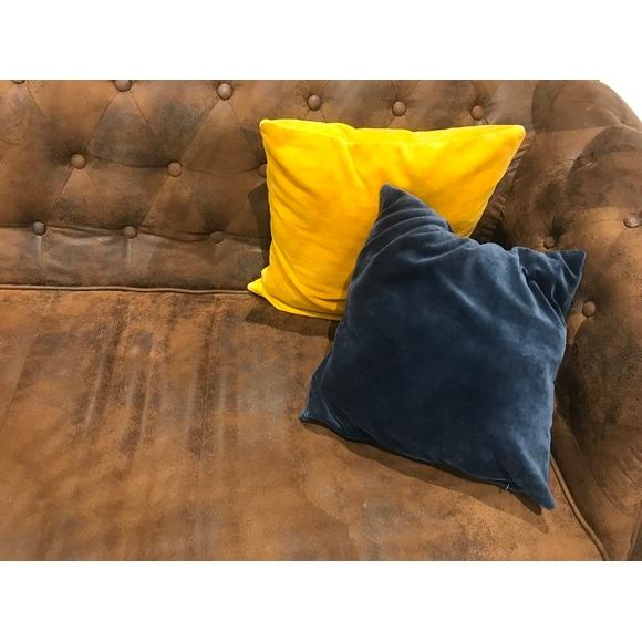 Fodera per cuscino quadrata in lino blu 40x40cm