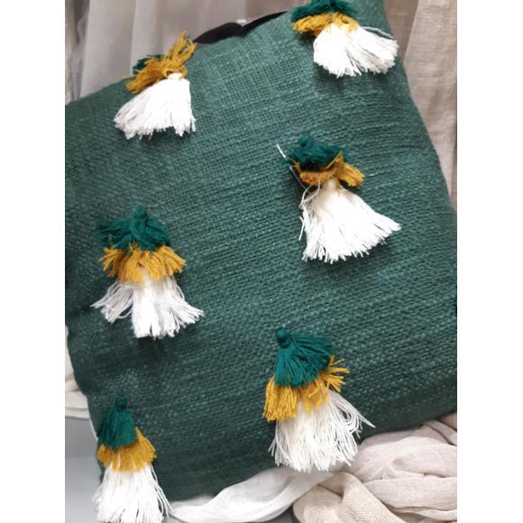 Coussin en coton Cedra pompons cèdre Indian 40x40cm