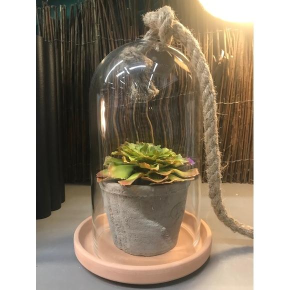 Cloche en verre transparente avec corde H30cm