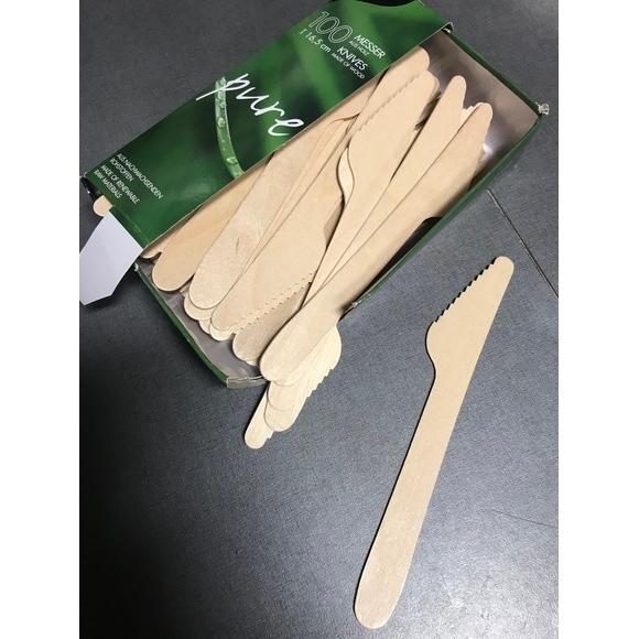 Set 100 couteaux jetables en bois 16,5cm