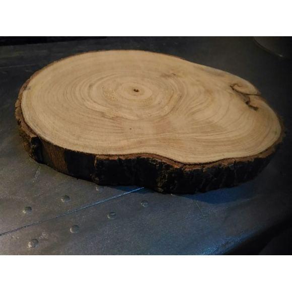 Plateau bougie rond en bois tronc d'arbre D30cm