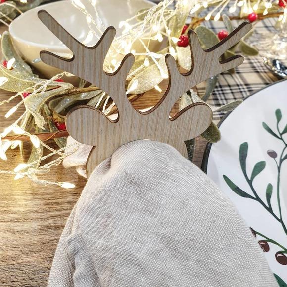 4 ronds de serviettes Renne en bois