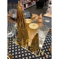 Supp bougie chauffe plat verre bord or