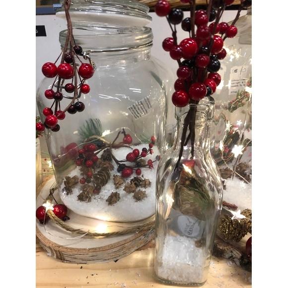 Sachet de 6 branches baies rouge 16 cm