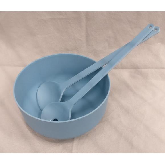 Set posate per insalata in melamina, blu