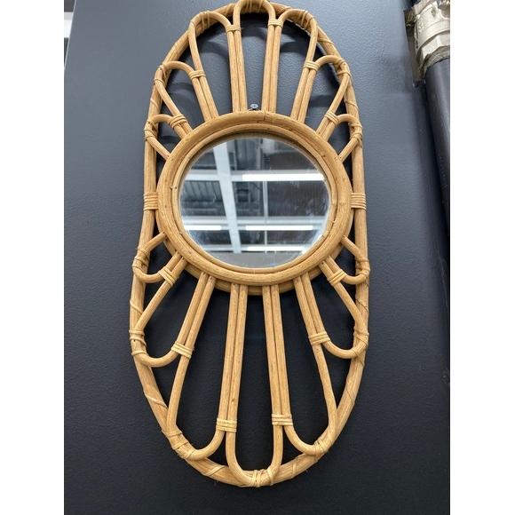 Miroir rotin naturel calanques ovale 46x18cm