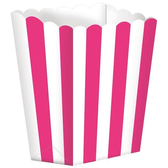 Achat en ligne Set de 5 boites à pop-corn à rayures rose