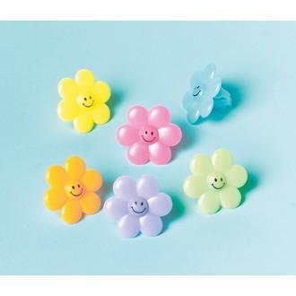 Set de 24 bagues fleur en plastiques