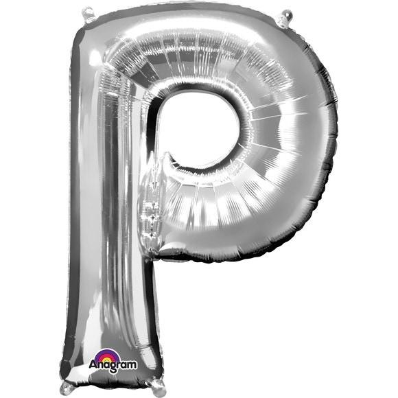 Ballon à gonfler argent lettre P