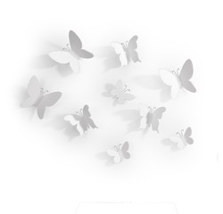 compra en línea 9 mariposas adhesivas de plástico blanco (9x9cm, 7,5x7cm, 6x4cm)