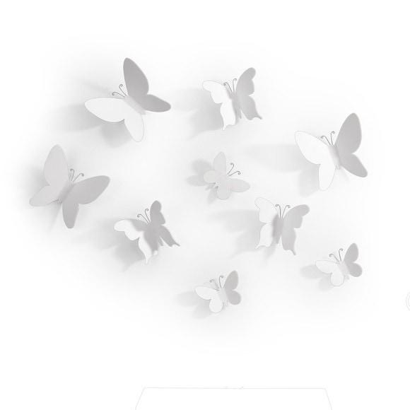 Set 9 papillons adhésifs plastique blanc 9x9cm,7,5x7cm,6x4cm