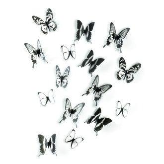 UMBRA - Set de 16 papillons muraux à fixer en plastique noir 15x12cm, 10x12cm, 10x7cm